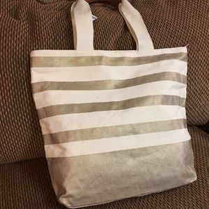 Bath & Body Works Bags - BATH & BODY WORKS Striped Canvas Zip Top Tote
